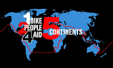 1 Bike 2 People 4 Aid - 5 continents